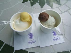 ミリオン洋菓子店・ジェラート・チョコミント&チョコ(右)フローズンヨーグルト&オレンジ