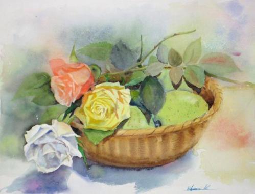 薔薇と青リンゴ