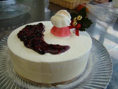 クリスマスのレアチーズケーキ1