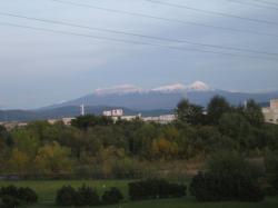大雪山の頂には雪