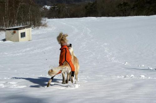 春うららの雪遊び22