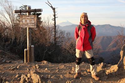 雲取山 頂上で記念撮影