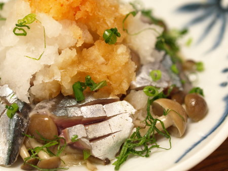 〆秋刀魚とキノコのおろし和え22