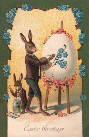イースターカードうさぎ絵描きさん