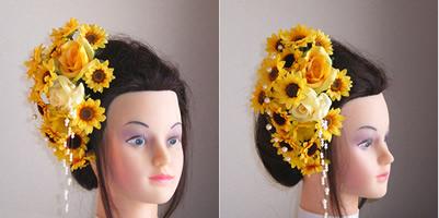 向日葵とローズのウエディング髪飾り