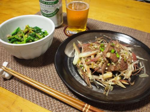 サイコサイコロステーキ野菜のせ&とう立ち菜のおひたし