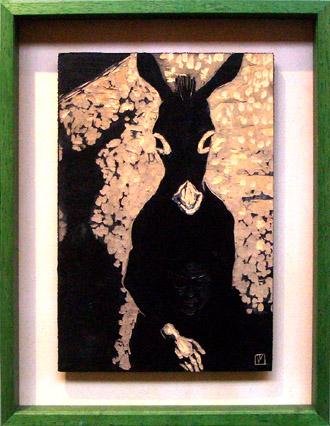 黒装束の女のロバ