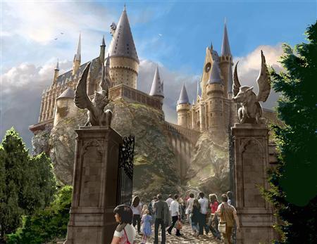 来春オープンするハリー・ポッターのテーマパークに登場する「ホグワーツ城」のイメージ(米ユニバーサル・オーランド・リゾート提供・共同)