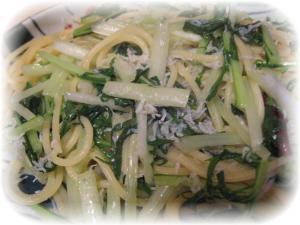 水菜とじゃこのペペロンチーノ