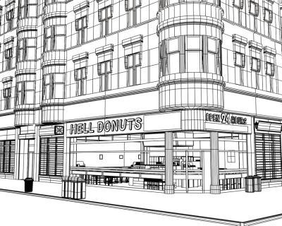 3Dドーナッツ店ワイヤーフレーム1