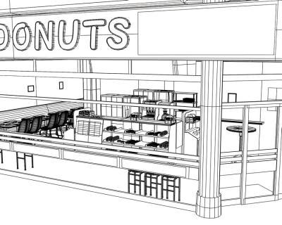 3Dドーナッツ店ワイヤーフレーム3