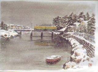 雪の日(旧鵠沼鉄橋)