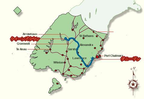 ダニーデンへの地図