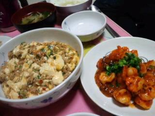 マーボー豆腐と海老チリ♪