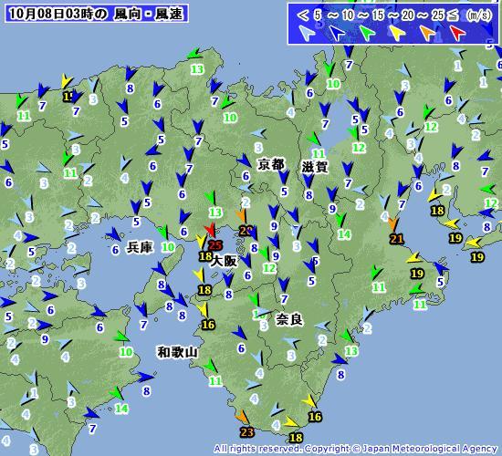 台風18号 200910080300-00 風 近畿