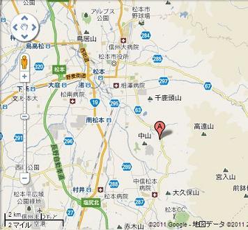 松本市地震震源地 地図