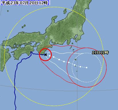 台風位置と進路予想 1106-00 7月20日12時