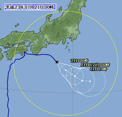 台風位置と進路予想 1106-00 7月21日00時