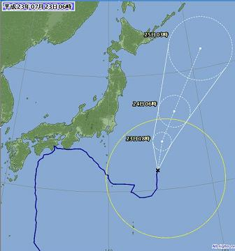 台風位置と進路予想 7月23日06時