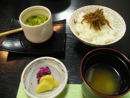 立花 「藤」の香の物、赤だし、御飯、茶碗蒸し