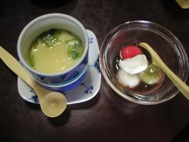 春御膳の茶わん蒸しとデザート