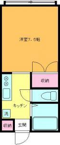 洋室7.5帖のお風呂トイレ別