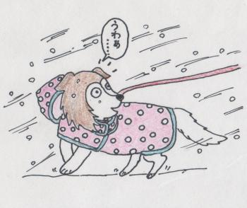 イラスト(雪の日のお散歩)