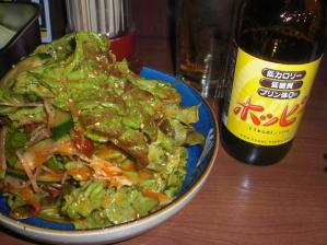 ホッピーと韓国サラダ