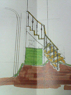 階段下電話置き場