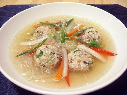 レンコン入り肉団子と春雨のスープ
