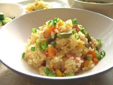 ベーコンと野菜の味噌バターご飯