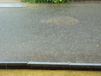 台風12号と家の前