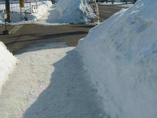 でも歩道はまだまだ雪あるのよ