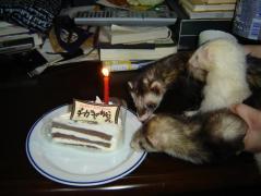 3人とケーキ
