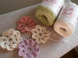 モチーフ編みのコットンマフラー
