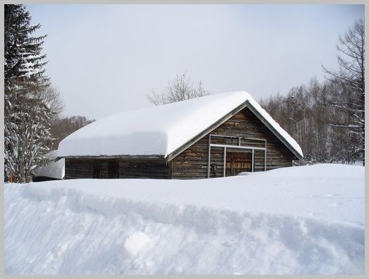雪に埋もれる農家の納屋