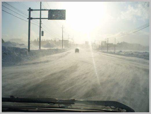 地吹雪の国道1