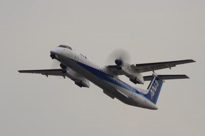 ANA DHC8-Q400 NH1657@RWY14Rエンド(by EF100-400)