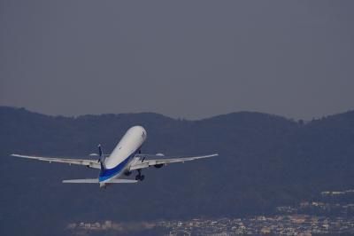ANA B777-381 NH771@RWY32Rエンド/東水門(by EF100-400)