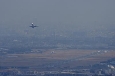 大阪国際空港withANA B777-381 NH105@宝塚中山桜台(by EF100-400)