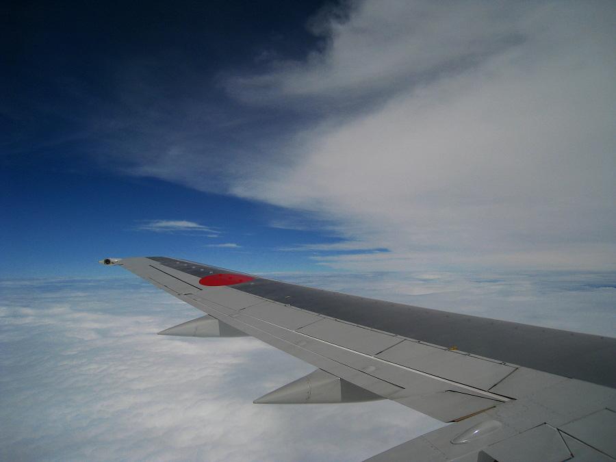 復路の翼&雲の上の空@ANA424(by IXY DIGITAL 910IS)