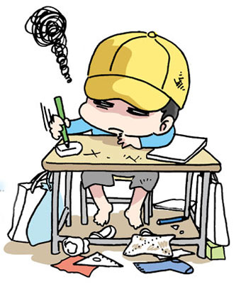 ADHD 汚い学校の机