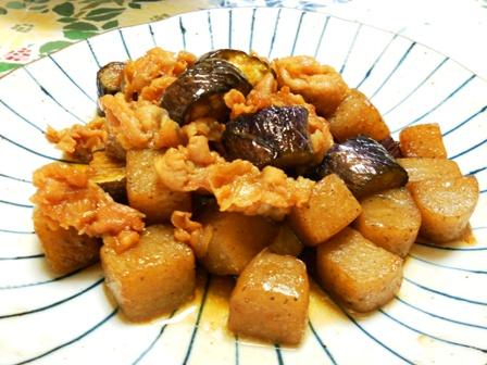 豚肉蒟蒻なすの炒め煮
