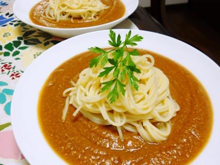 トマト煮込みスープパスタ
