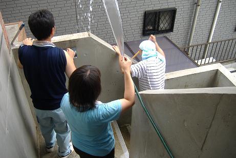 屋根を洗っています。