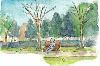 公園で散歩3