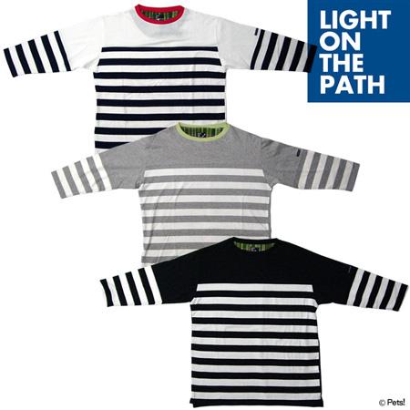 ボーダーTシャツ カットソー トップス クルーネック 7分袖【メンズ LIGHT ON THE PATH(ライトオンザパス)◆】