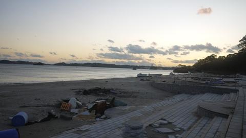 桂島の海水浴場(津波の後