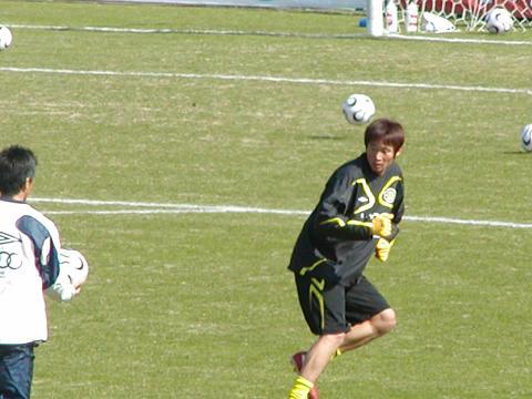 練習中の岡山選手
