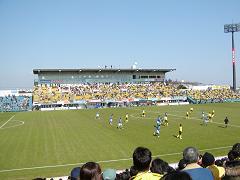 日立台での試合風景
